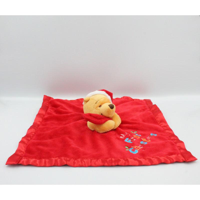 Doudou plat couverture satin Winnie l'ourson rouge Noël Chrismas DISNEY STORE