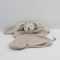 Doudou plat lapin gris couronne TEXTURA