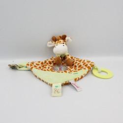 Doudou plat girafe marron vert hochet dentition TOODO