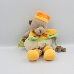 Doudou et compagnie ours jaune orange vert beige Melis