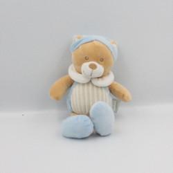 Doudou ours bleu rayé beige MES PETITS CAILLOUX CMP