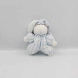 Doudou lapin blanc bleu rayé TARTINE ET CHOCOLAT