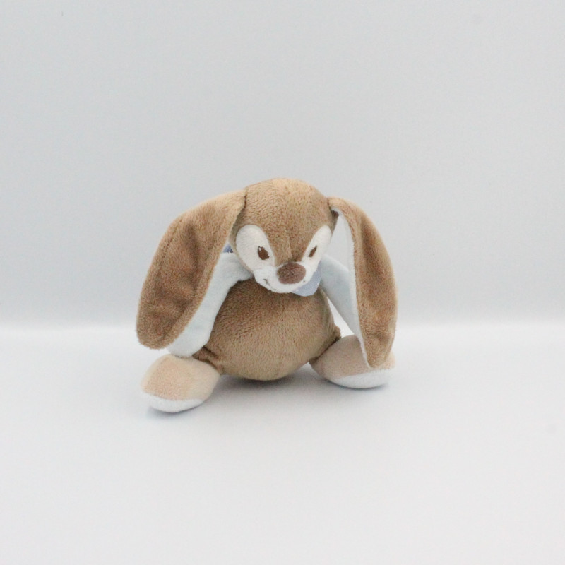 Doudou musical lapin beige marron bleu Emil et Rosy NATTOU 20 cm