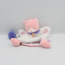 Doudou et compagnie marionnette chat blanc rose mauve lovely fraise