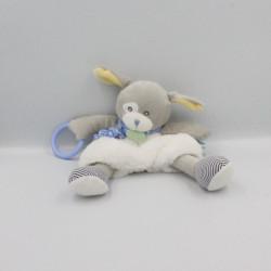 Doudou chien gris blanc bleu jaune Poupi BABY NAT