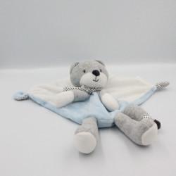 Doudou plat chat renard gris bleu blanc étoiles TEX