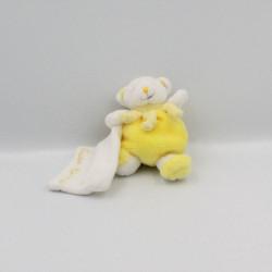 Doudou et compagnie ours jaune blanc mouchoir Cueillette