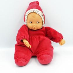 Doudou bébé poupée Baby Pouce rouge fleurs COROLLE