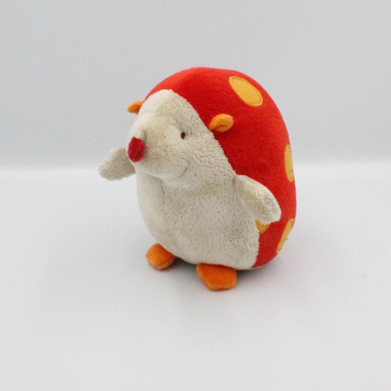 Doudou hérisson beige rouge orange CARRE BLANC