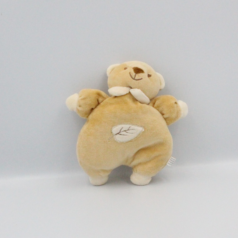 Doudou ours beige blanc feuille PROVERA