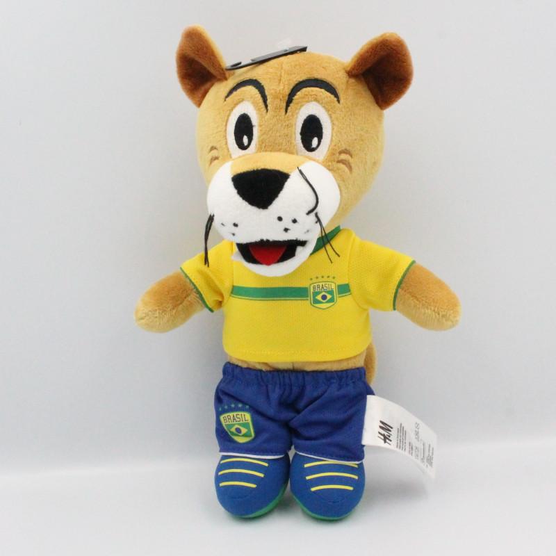 Doudou lion tigre beige tenue foot Brasil H&M