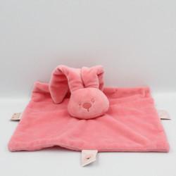 Doudou plat carré lapin rose Lapidou NATTOU