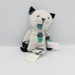Doudou chat gris bleu vert plantes CATIMINI