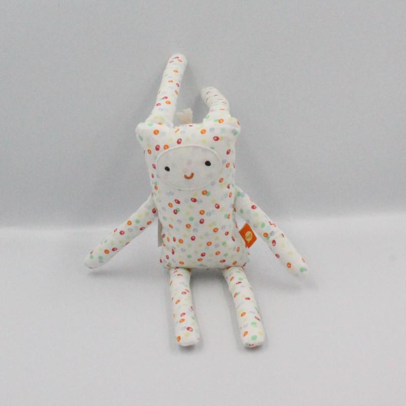Doudou lapin blanc pois multicolore DPAM
