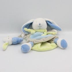 Doudou et Compagnie plat marionnette lapin bleu gris vert blanc