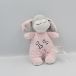 Doudou chien rose blanc gris os TOM & KIDDY TOMKIDS