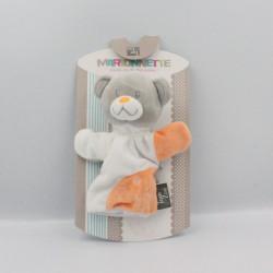 Doudou plat marionnette ours gris blanc orange TOM & ZOE