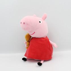Doudou cochon rose rouge avec chien PEPPA PIG