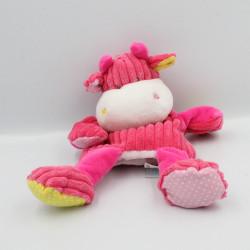 Doudou marionnette vache rose jaune pois côtelés Baby nat