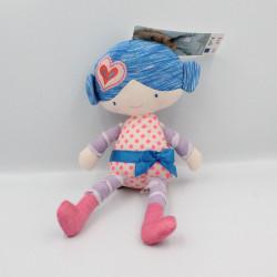 Doudou poupée mauve pois rose nattes bleu ORCHESTRA PREMAMAN