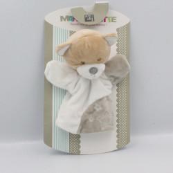 Doudou plat marionnette ours beige gris blanc TOM & ZOE