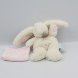 Doudou lapin blanc mouchoir rose Baby nat