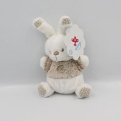 Doudou lapin blanc marron bouton NICOTOY