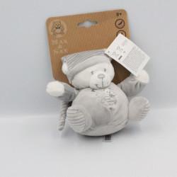 Doudou ours gris blanc rayé MAX ET SAX