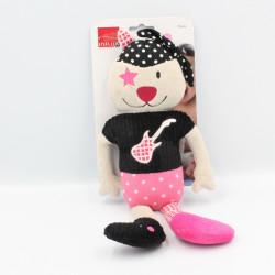 Doudou chat beige noir rose étoiles guitare INFLUX