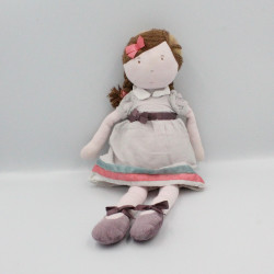 Doudou poupée rose gris prune bleu JACADI