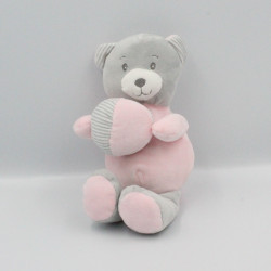 Doudou ours rose gris balle TOM & KIDDY TOMKIDS