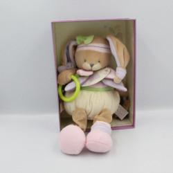 Doudou et compagnie plat Cerise le lapin blanc rose prune