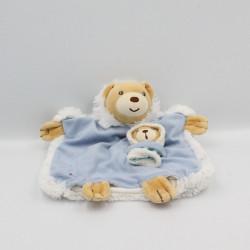 Doudou plat ours bleu blanc esquimau KALOO