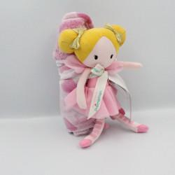 Doudou poupée robe rose tutu nattes blonde couverture ORCHESTRA PREMAMAN
