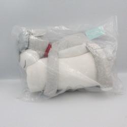 Doudou chien gris blanc collier rouge couverture OBAIBI