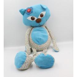 Grand Doudou chat bleu vert étoiles rose