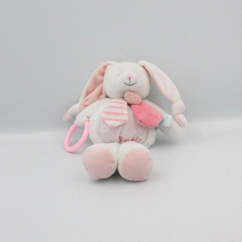 Doudou lapin blanc rose pouet hochet BABY NAT
