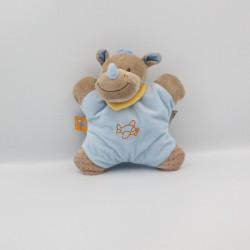Doudou semi plat rhinocéros bleu marron orange pois avion NATTOU