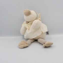Doudou canard Edouard blanc écru beige rayé tablier MOULIN ROTY
