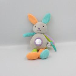 Doudou lapin gris vert orange bleu violet hochet U TOUT PETITS
