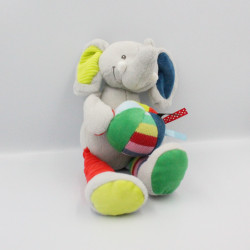 Doudou musical éléphant gris bleu vert rouge jaune balle INFLUX