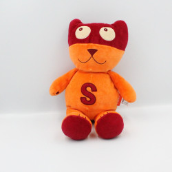 Doudou chat masqué orange rouge super héros MARESE