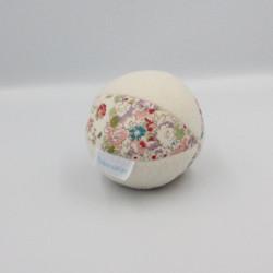 Doudou balle blanc fleurs TROUSSELIER
