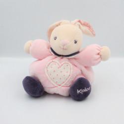 Doudou lapin rose violet coeur Petite rose KALOO