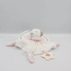 Doudou plat ours blanc rose MATHILDE M