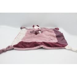 Doudou plat Mam'zelle Bou hibou chouette rose violet SAUTHON