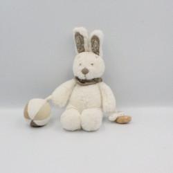 Doudou lapin blanc foulard beige étoile balle NICOTOY