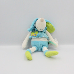 Doudou chien bleu blanc vert Pinpin bicyclette MOULIN ROTY