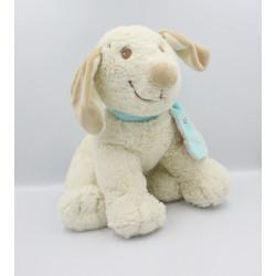 Grand Doudou chien blanc Tifoo Kishoo écharpe bleu NOUKIE'S 36 cm