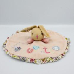 Doudou plat rond lapin rose fleurs Coquinette KALOO